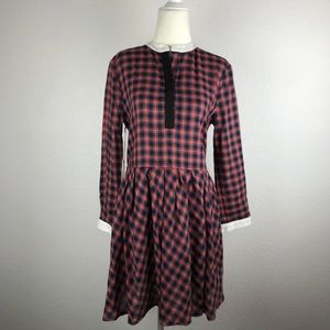 Band of Outsiders Twill Plaid Pleated Dress D35